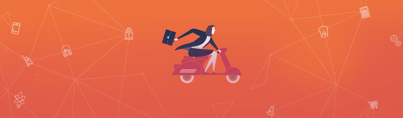 SkillsFuture Orange Banner of woman on scooter